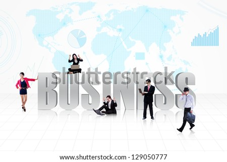 Business people surround the word BUSINESS on world map background