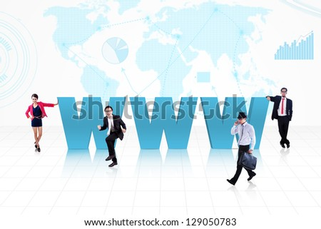 Business people surround www text on world map background