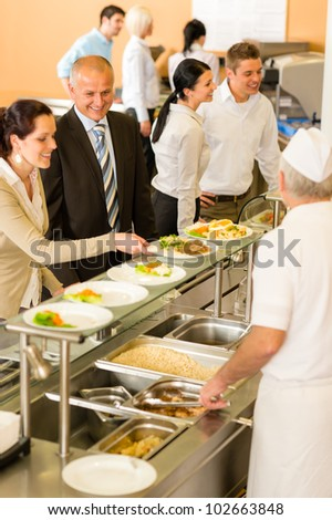 Business people take lunch meal in cafeteria display cabinet