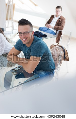 Business people talking about new startup project at conference table - stock photo