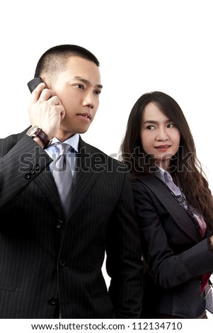 Business people talking at telephone and women on a white background.