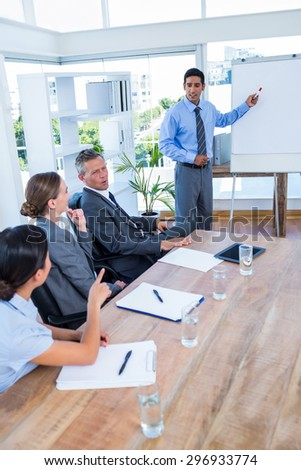 Business people talking during a meeting in the office - stock photo