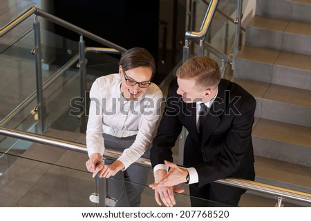 Business people talking during break from work, horizontal - stock photo