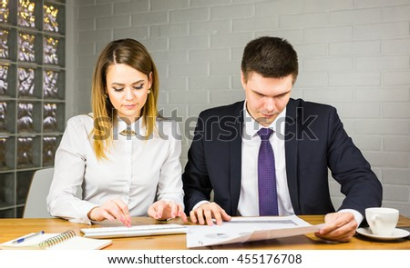Business people talking on meeting at office - stock photo
