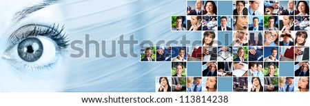Business people team collage. Abstract background. - stock photo