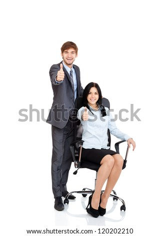 Business people team hold thumb up finger gesture at you, young businessman and businesswoman sitting in chair happy smile, portrait Isolated over white background - stock photo
