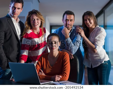 business people team on meeting at bright office space working on laptop computer