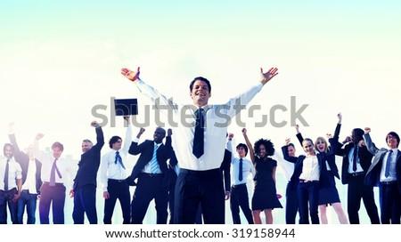 Business People Team Success Celebration Concept - stock photo