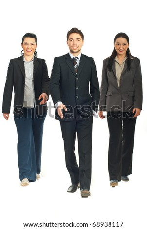 Business people team walking isolated on white background - stock photo