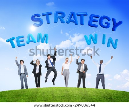 Business People Team Winning Strategy Cheerful Celebration Concept - stock photo