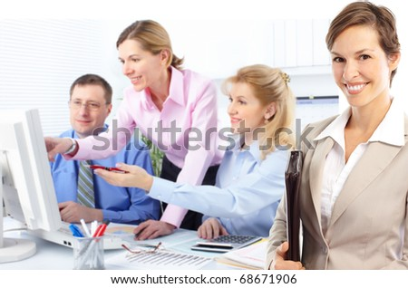 business people team working in the office - stock photo