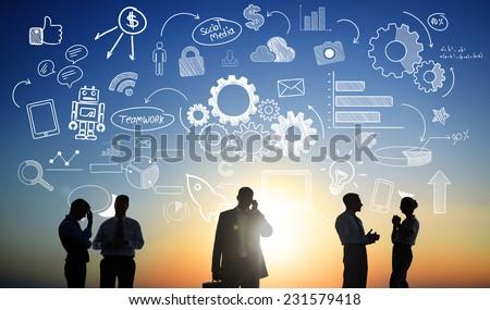 Business People Teamwork Social Media Finance Concept - stock photo