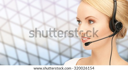 business, people, technology and communication concept - happy female helpline operator in headset over glass ceiling background - stock photo