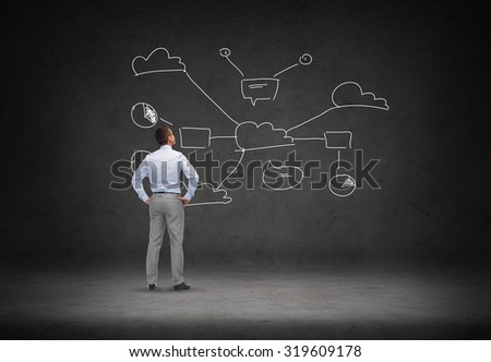 business, people, technology and connectivity concept - businessman looking at cloud computing scheme over concrete room background from back - stock photo