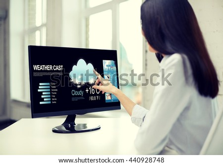 business, people, technology and meteorology concept - close up of woman with weather cast and world news on computer monitor in office - stock photo