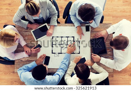 Business people technology team work concept stock photo royalty business people technology and team work concept close up of architects with blueprint malvernweather Image collections
