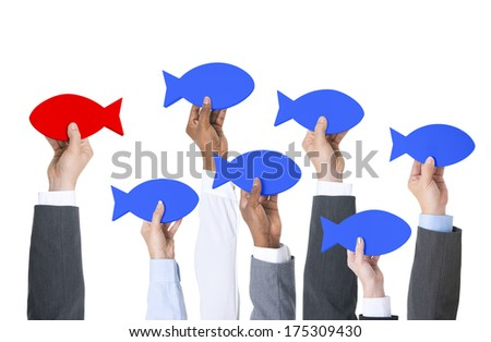 Business People Thinking Outside of The Box - stock photo