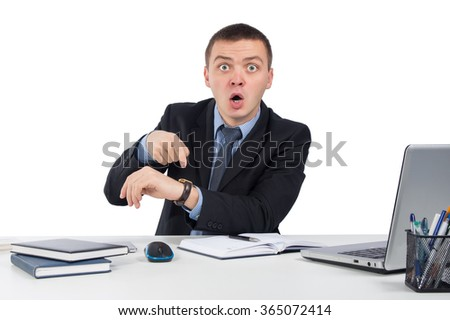 Business, people, time management and office concept - Business man showing time on his wrist watch isolated on white background - stock photo