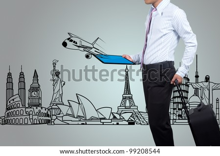 Business people to travel around the world. - stock photo