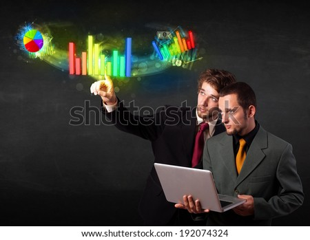 Business people touching colorful modern graph system concept