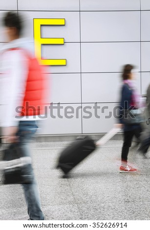 business People Traveling Airplane Airport Concept - stock photo
