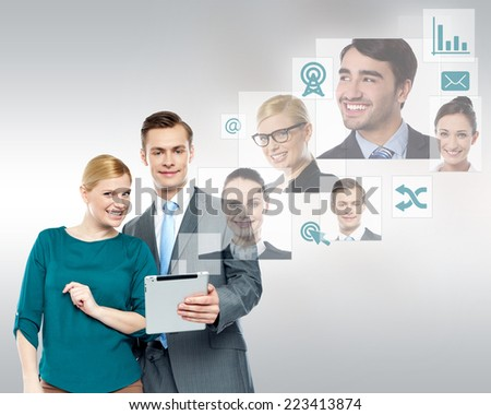 Business people using tablet to communicate the team - stock photo