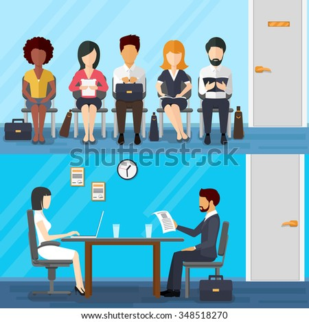 Business people waiting job interview - stock photo