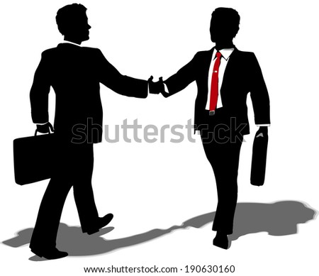 Business people walk to meet shake hands and team up on partnership merger deal