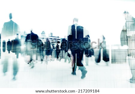 Business People Walking on a City Scape - stock photo