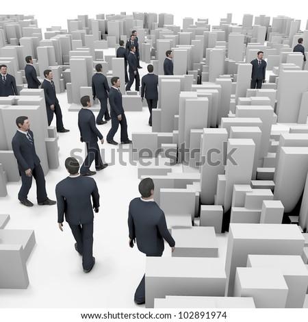 business people walking on box city - stock photo