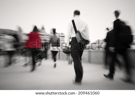 Business people walking to their workplace. - stock photo