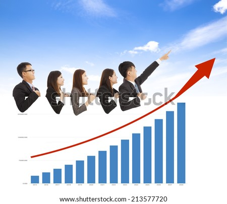 business people with a marketing situation bar chart - stock photo