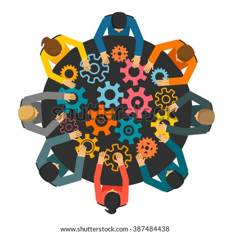 Business people with cog wheels, table top view. Teamwork, workforce staff infographic element. Brainstorming concept, illustration - stock photo
