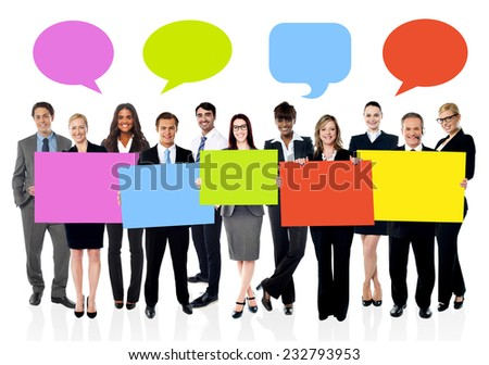 Business people with colorful board and speech bubbles above