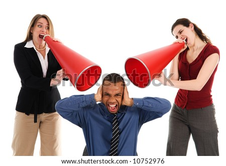 business people with megaphone harassing colleague