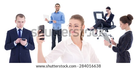 business people with mobile phones and computers isolated on white background - stock photo