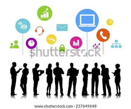 Business People with Social Media Concept - stock photo