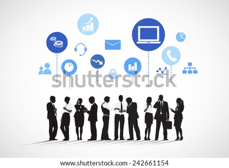 Business People with Social Media Concept Vector - stock photo