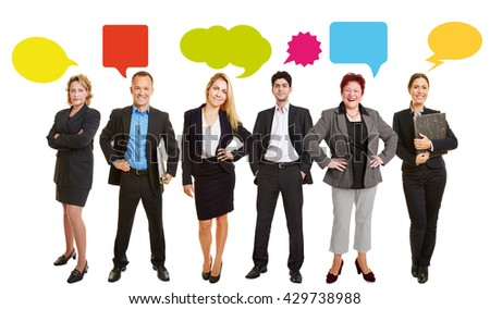 Business people with speech bubbles in a group