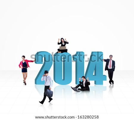 Business people with the new year 2014 isolated on white background