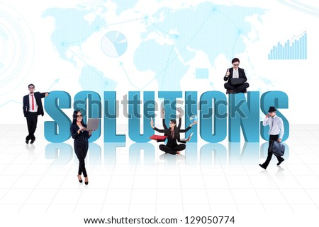 Business people with the word solutions on world map background - stock photo