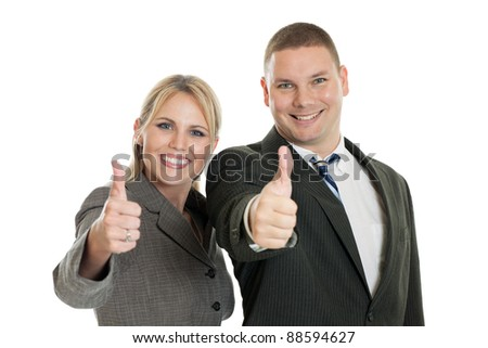 Business people with thumbs up isolated on a white background - stock photo