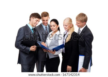 business people work group in team, young businesspeople standing together discussing document project plan communicating, Isolated over white background