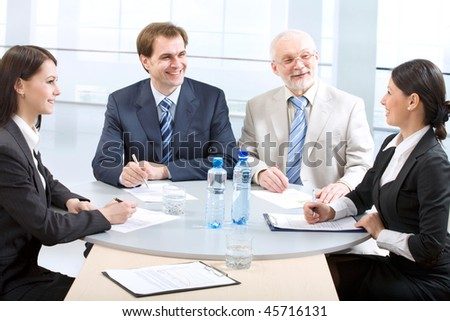 Business people work in a seminar