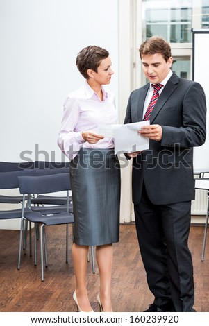 business people working in office teamwork professional meeting - stock photo