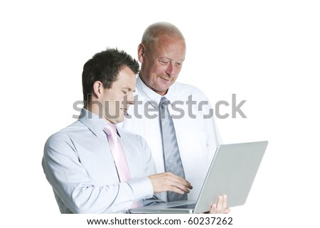business people working on a laptop computer isolated over a white background - stock photo