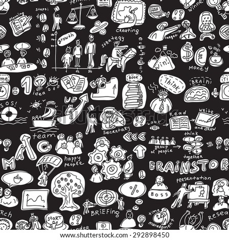 Business people working seamless pattern black and white. Monocrome wallpaper illustration.
