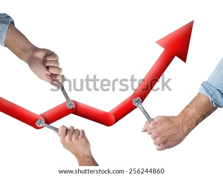 Business people working together to raise the statistics - stock photo