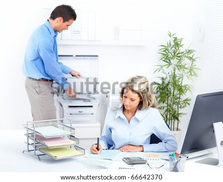 business people working with computer in the office - stock photo