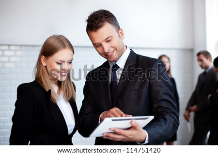 business people working with digital tablet - stock photo